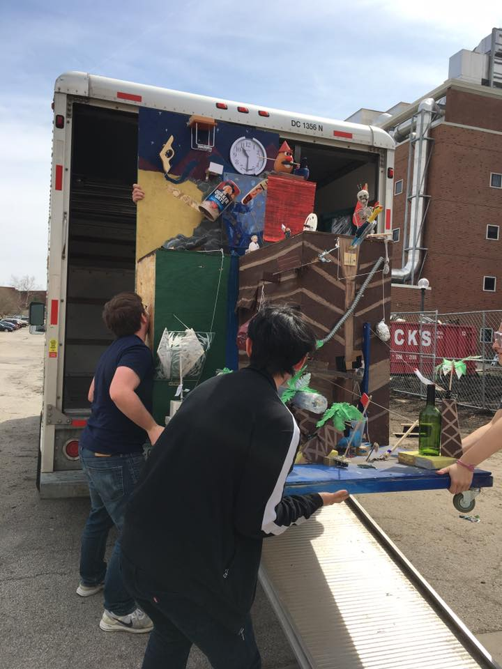 loading a finished contraption into a U-Haul for transport
