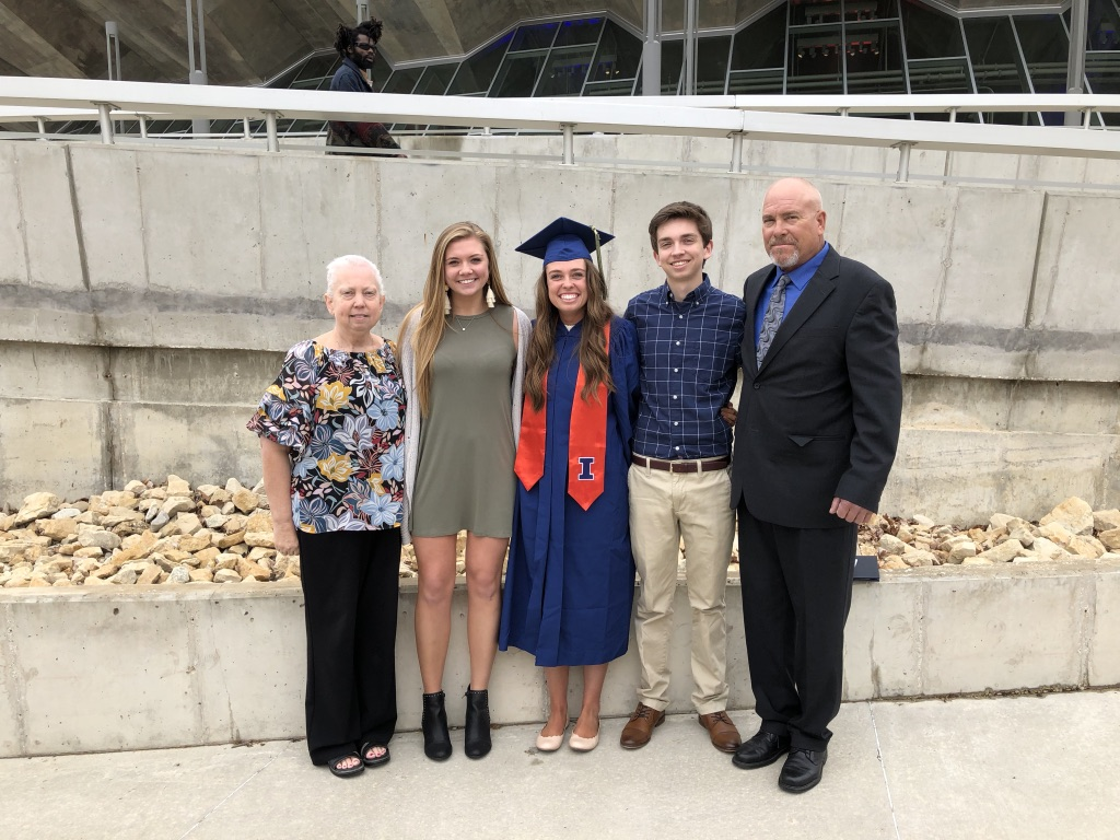 Rachel and her family at her sister's graduation from Illinois