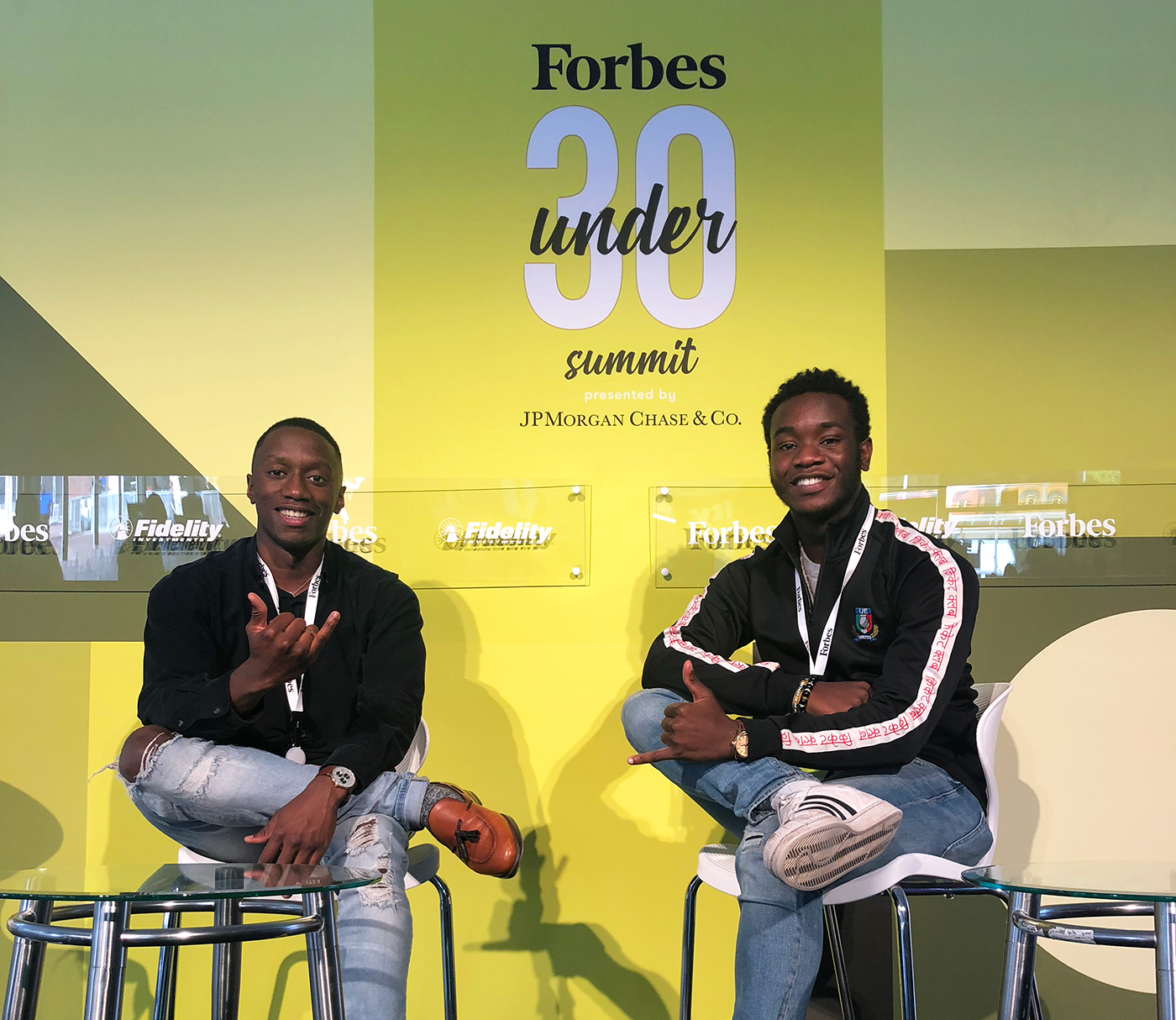 Taofik posing with a friend at Forbes' 30 Under 30 Summit