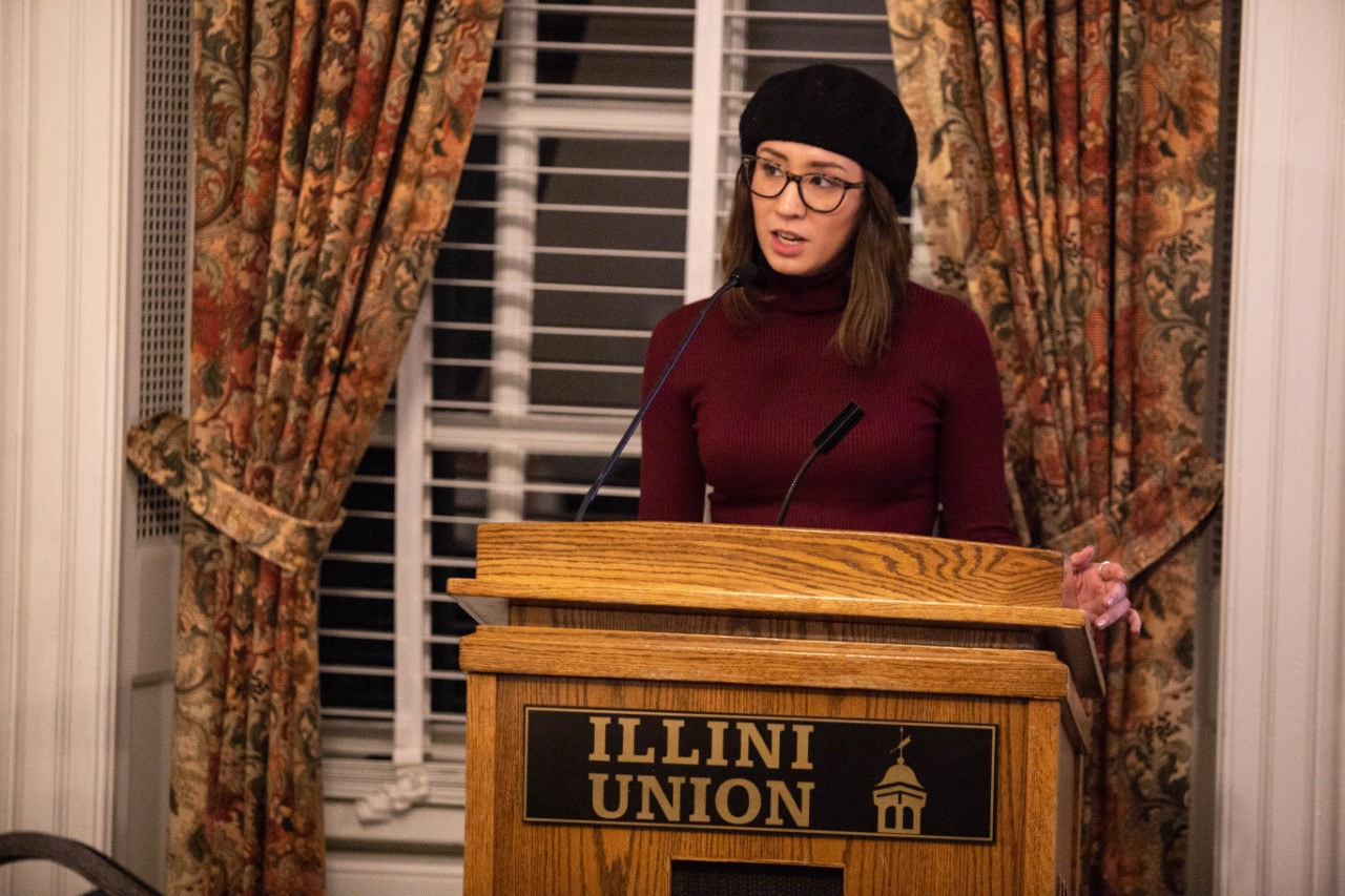 Jessalyn giving her first official speech as president of the Illini Union Board.